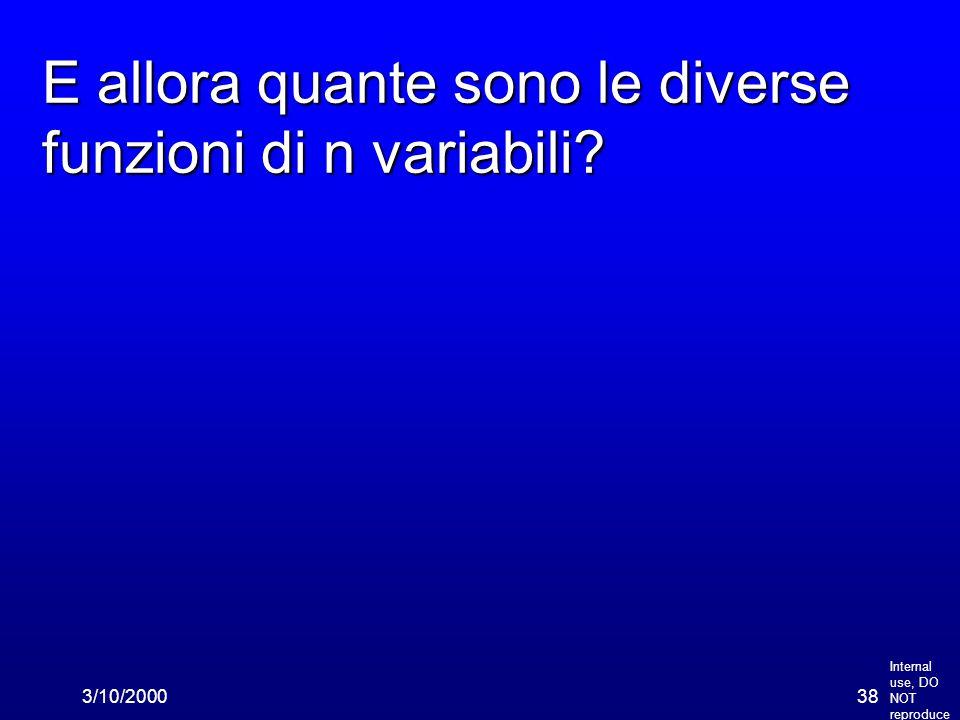 Internal use, DO NOT reproduce 3/10/200038 E allora quante sono le diverse funzioni di n variabili?