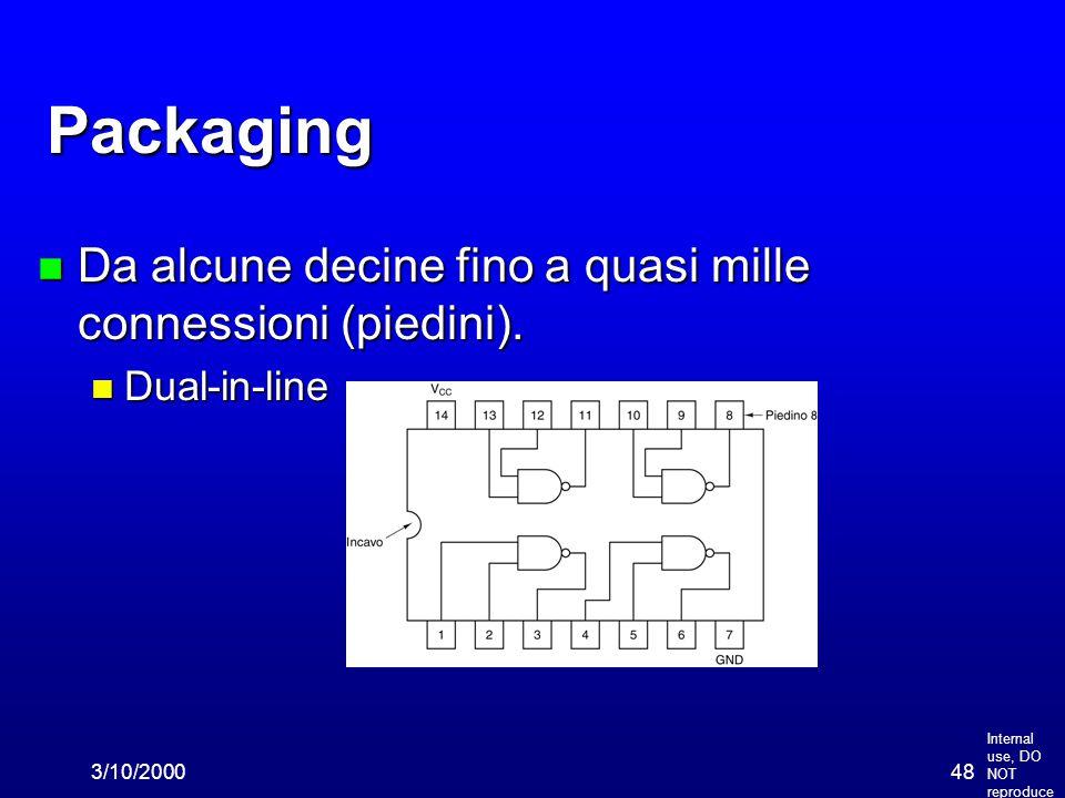 Internal use, DO NOT reproduce 3/10/200048 Packaging n Da alcune decine fino a quasi mille connessioni (piedini). n Dual-in-line