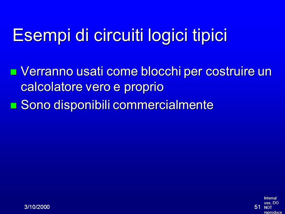 Internal use, DO NOT reproduce 3/10/200051 Esempi di circuiti logici tipici n Verranno usati come blocchi per costruire un calcolatore vero e proprio n Sono disponibili commercialmente