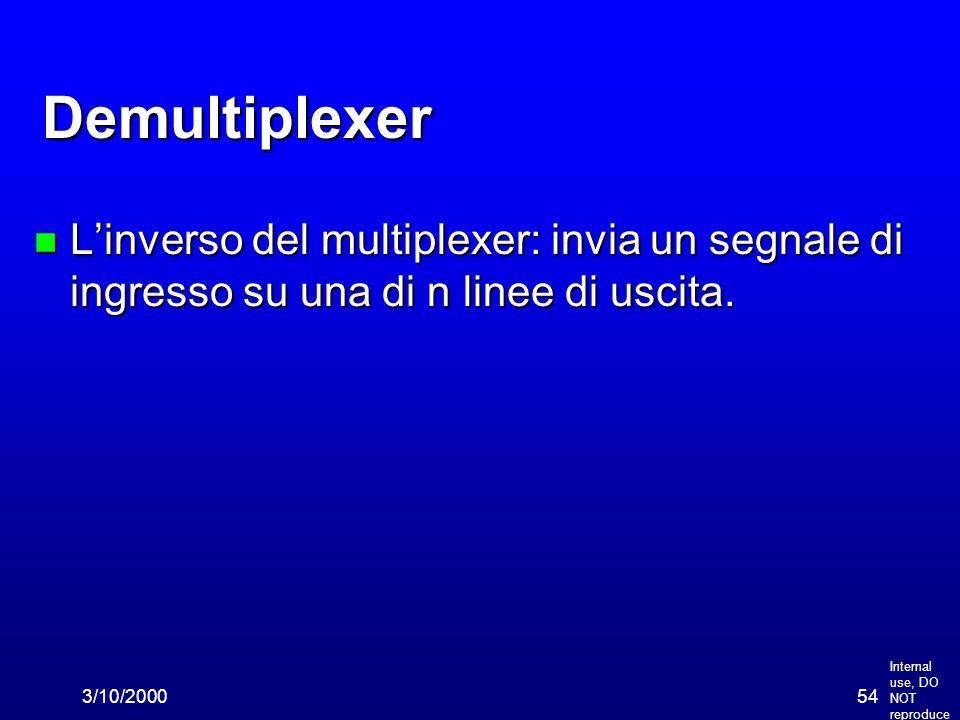 Internal use, DO NOT reproduce 3/10/200054 Demultiplexer n L'inverso del multiplexer: invia un segnale di ingresso su una di n linee di uscita.