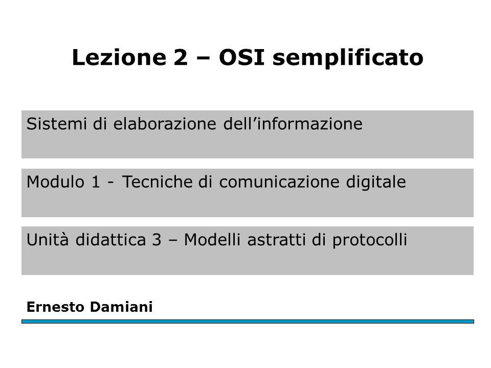 Sistemi di elaborazione dell'informazione Modulo 1 -Tecniche di comunicazione digitale Unità didattica 3 – Modelli astratti di protocolli Ernesto Damiani Lezione 2 – OSI semplificato