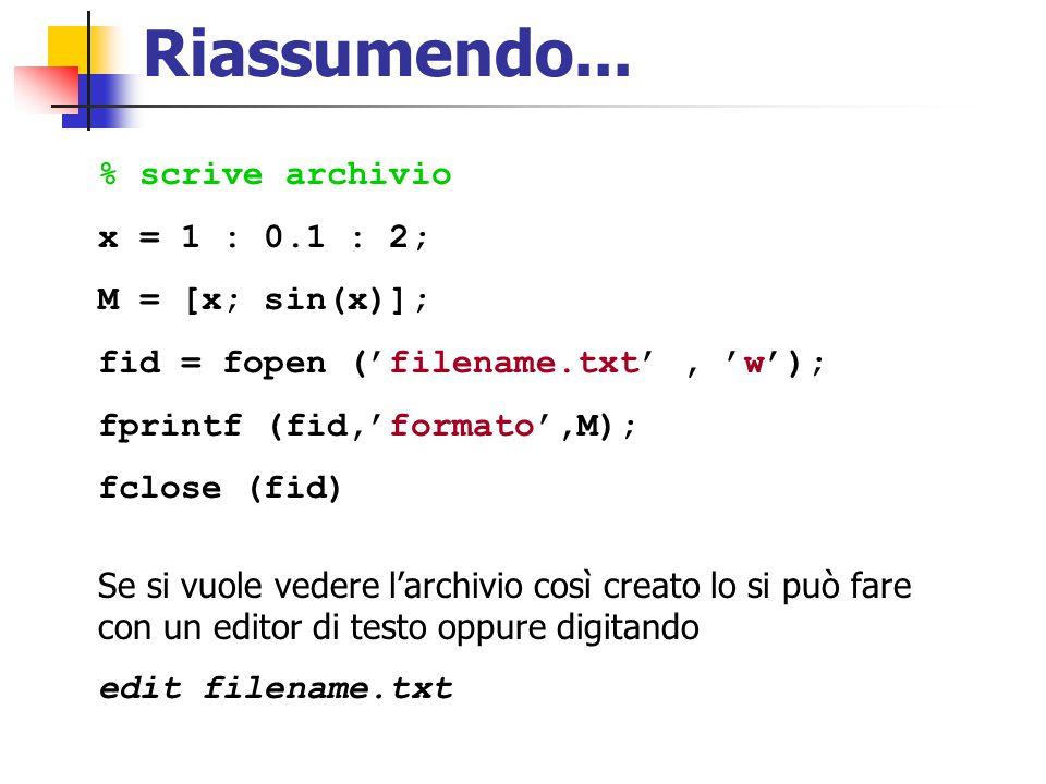 Riassumendo... % scrive archivio x = 1 : 0.1 : 2; M = [x; sin(x)]; fid = fopen ('filename.txt', 'w'); fprintf (fid,'formato',M); fclose (fid) Se si vu