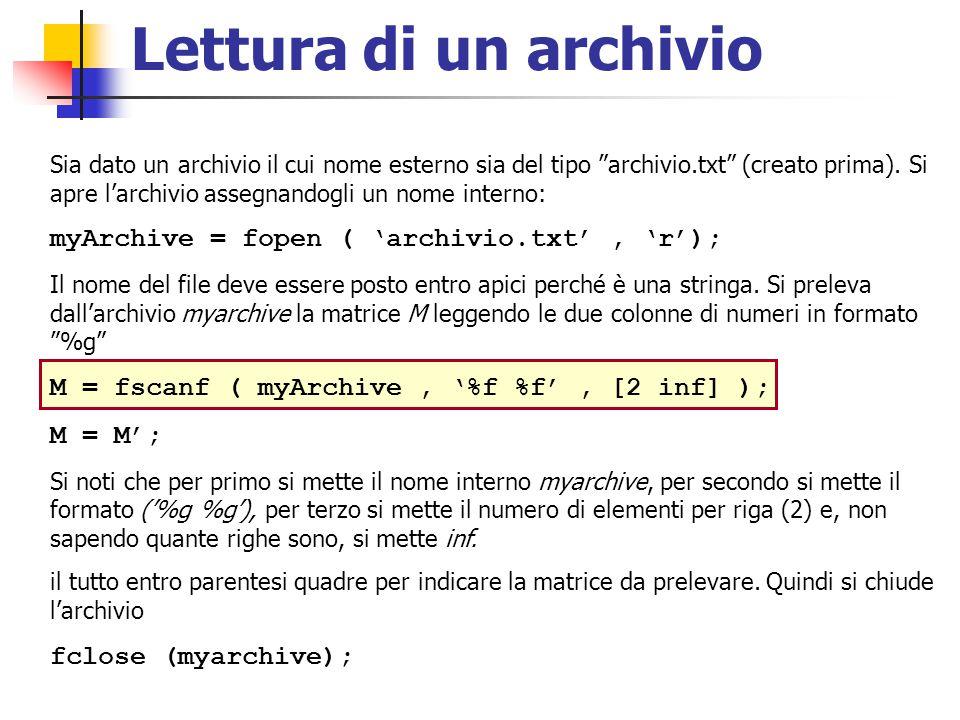 """Lettura di un archivio Sia dato un archivio il cui nome esterno sia del tipo """"archivio.txt"""" (creato prima). Si apre l'archivio assegnandogli un nome i"""