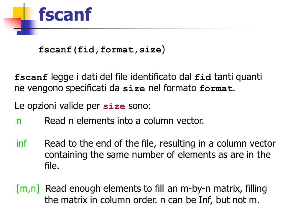 fscanf fscanf(fid,format,size ) fscanf legge i dati del file identificato dal fid tanti quanti ne vengono specificati da size nel formato format. Le o