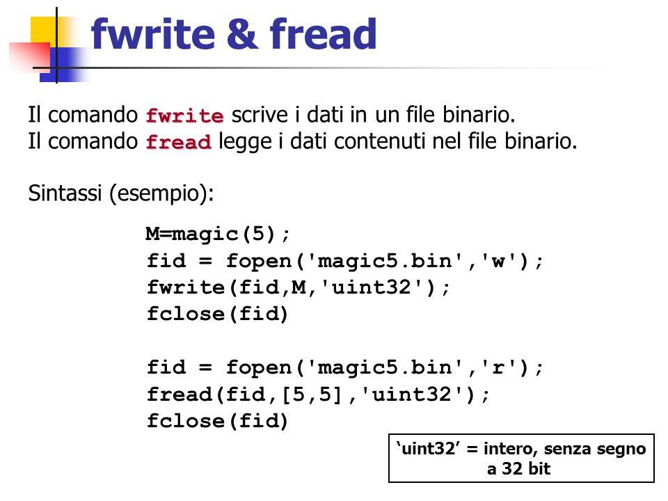 fwrite & fread fwrite Il comando fwrite scrive i dati in un file binario. fread Il comando fread legge i dati contenuti nel file binario. Sintassi (es