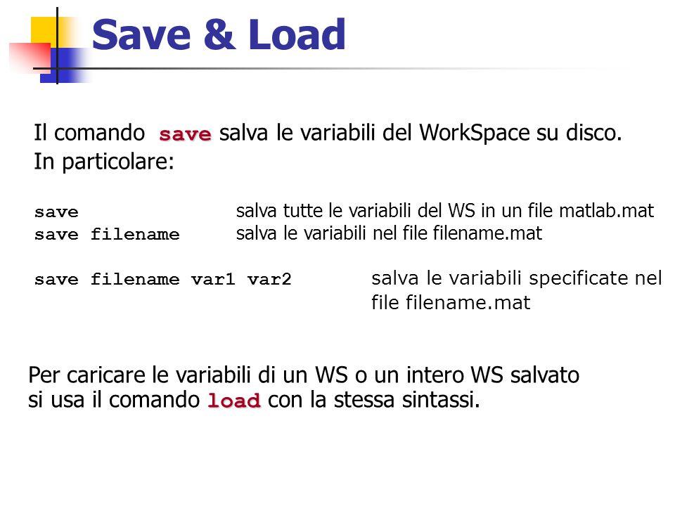Save & Load save Il comando save salva le variabili del WorkSpace su disco. In particolare: save salva tutte le variabili del WS in un file matlab.mat