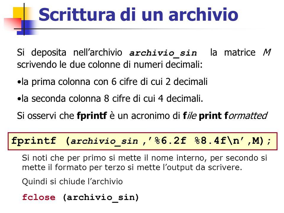 Scrittura di un archivio Si deposita nell'archivio archivio_sin la matrice M scrivendo le due colonne di numeri decimali: la prima colonna con 6 cifre