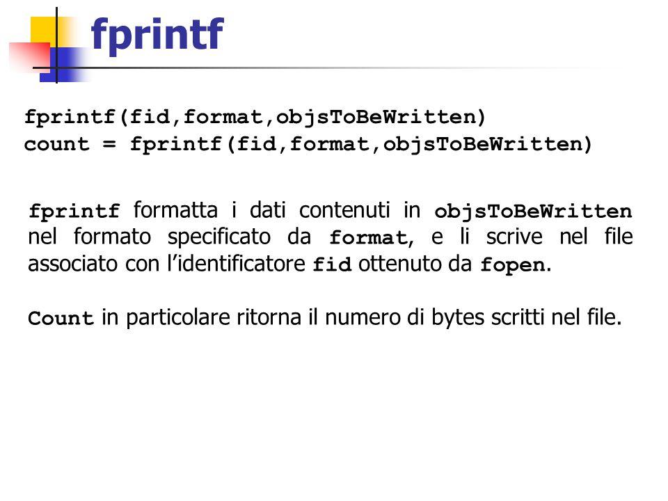 fprintf fprintf(fid,format,objsToBeWritten) count = fprintf(fid,format,objsToBeWritten) fprintf formatta i dati contenuti in objsToBeWritten nel forma
