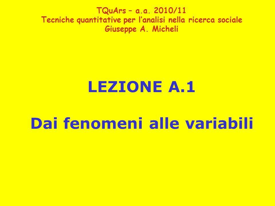 LEZIONE A.1 Dai fenomeni alle variabili TQuArs – a.a.