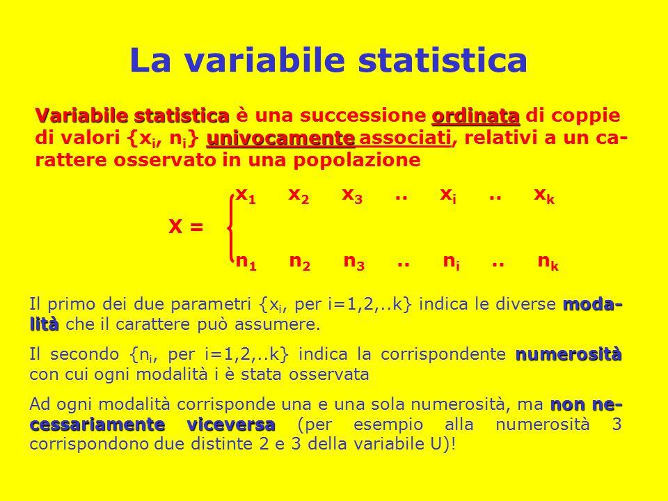 La variabile statistica Variabile statisticaordinata univocamente Variabile statistica è una successione ordinata di coppie di valori {x i, n i } univocamente associati, relativi a un ca- rattere osservato in una popolazione x 1 x 2 x 3..