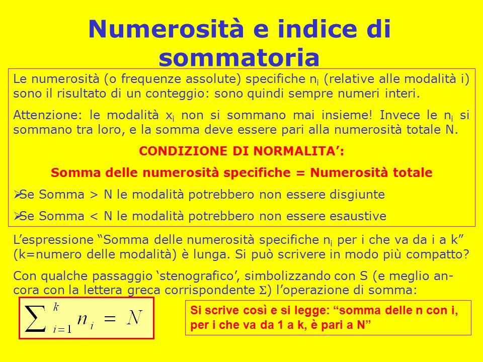 Numerosità e indice di sommatoria Le numerosità (o frequenze assolute) specifiche n i (relative alle modalità i) sono il risultato di un conteggio: sono quindi sempre numeri interi.
