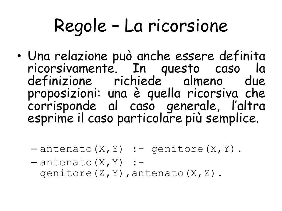 Regole – La ricorsione Una relazione può anche essere definita ricorsivamente.