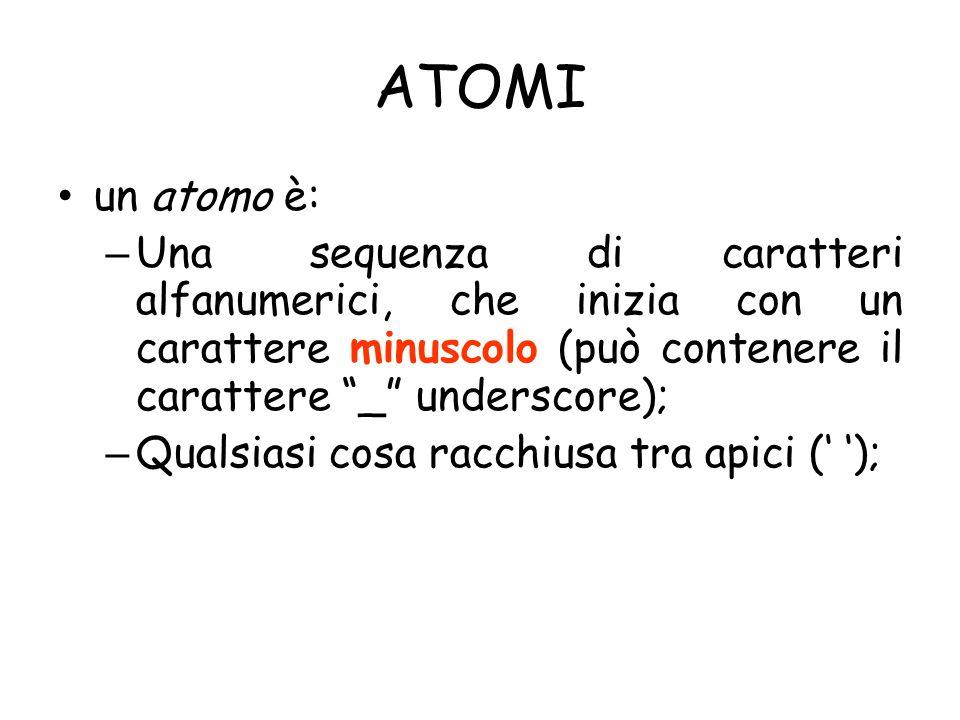 ATOMI un atomo è: – Una sequenza di caratteri alfanumerici, che inizia con un carattere minuscolo (può contenere il carattere _ underscore); – Qualsiasi cosa racchiusa tra apici (' ');