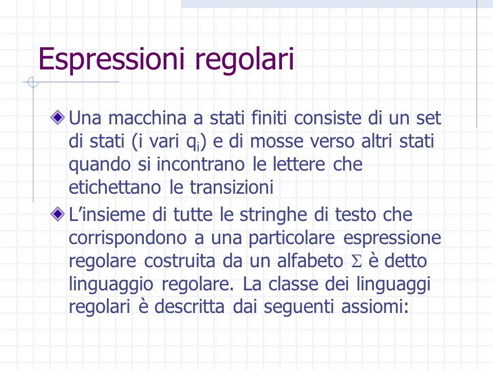 Espressioni regolari Una macchina a stati finiti consiste di un set di stati (i vari q i ) e di mosse verso altri stati quando si incontrano le lettere che etichettano le transizioni L'insieme di tutte le stringhe di testo che corrispondono a una particolare espressione regolare costruita da un alfabeto  è detto linguaggio regolare.