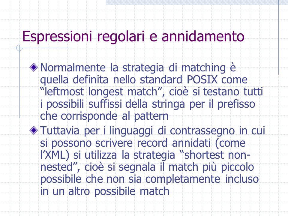 """Espressioni regolari e annidamento Normalmente la strategia di matching è quella definita nello standard POSIX come """"leftmost longest match"""", cioè si"""