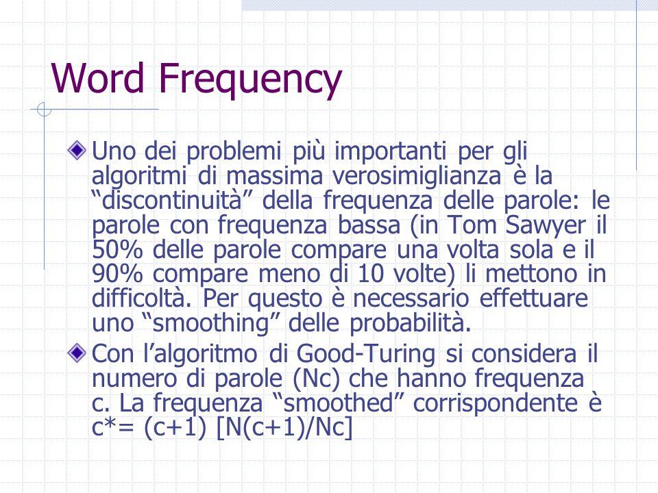 Word Frequency Uno dei problemi più importanti per gli algoritmi di massima verosimiglianza è la discontinuità della frequenza delle parole: le parole con frequenza bassa (in Tom Sawyer il 50% delle parole compare una volta sola e il 90% compare meno di 10 volte) li mettono in difficoltà.