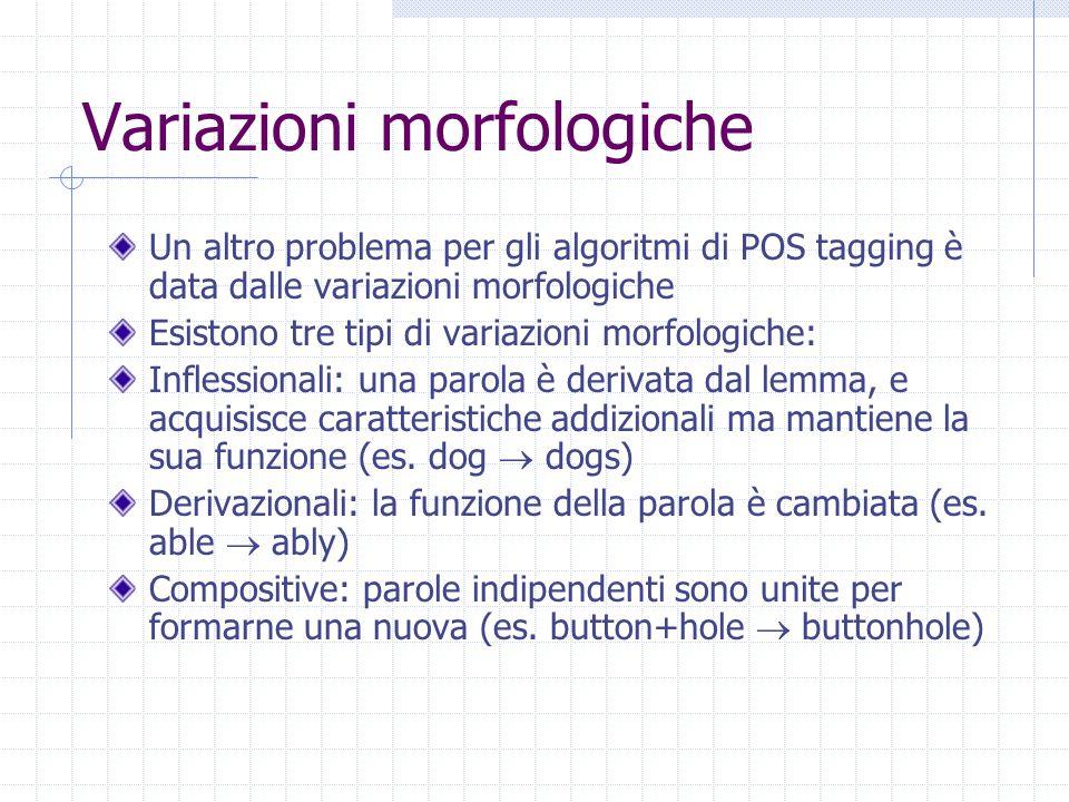 Variazioni morfologiche Un altro problema per gli algoritmi di POS tagging è data dalle variazioni morfologiche Esistono tre tipi di variazioni morfologiche: Inflessionali: una parola è derivata dal lemma, e acquisisce caratteristiche addizionali ma mantiene la sua funzione (es.