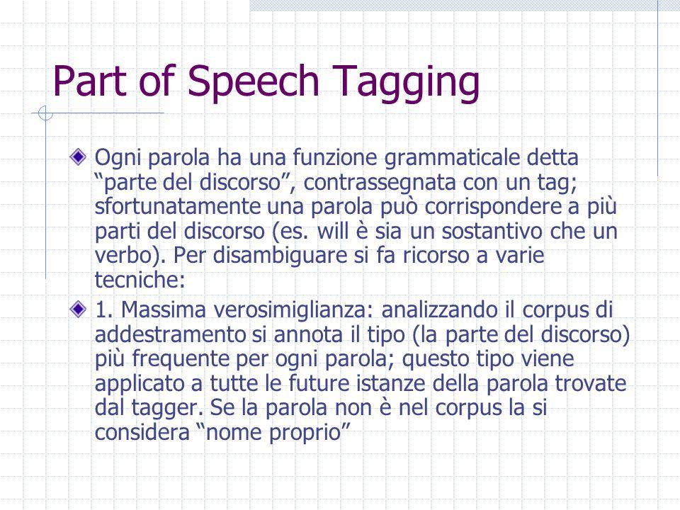 Part of Speech Tagging Ogni parola ha una funzione grammaticale detta parte del discorso , contrassegnata con un tag; sfortunatamente una parola può corrispondere a più parti del discorso (es.