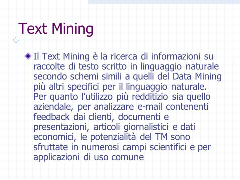 Text Mining Il Text Mining è la ricerca di informazioni su raccolte di testo scritto in linguaggio naturale secondo schemi simili a quelli del Data Mining più altri specifici per il linguaggio naturale.