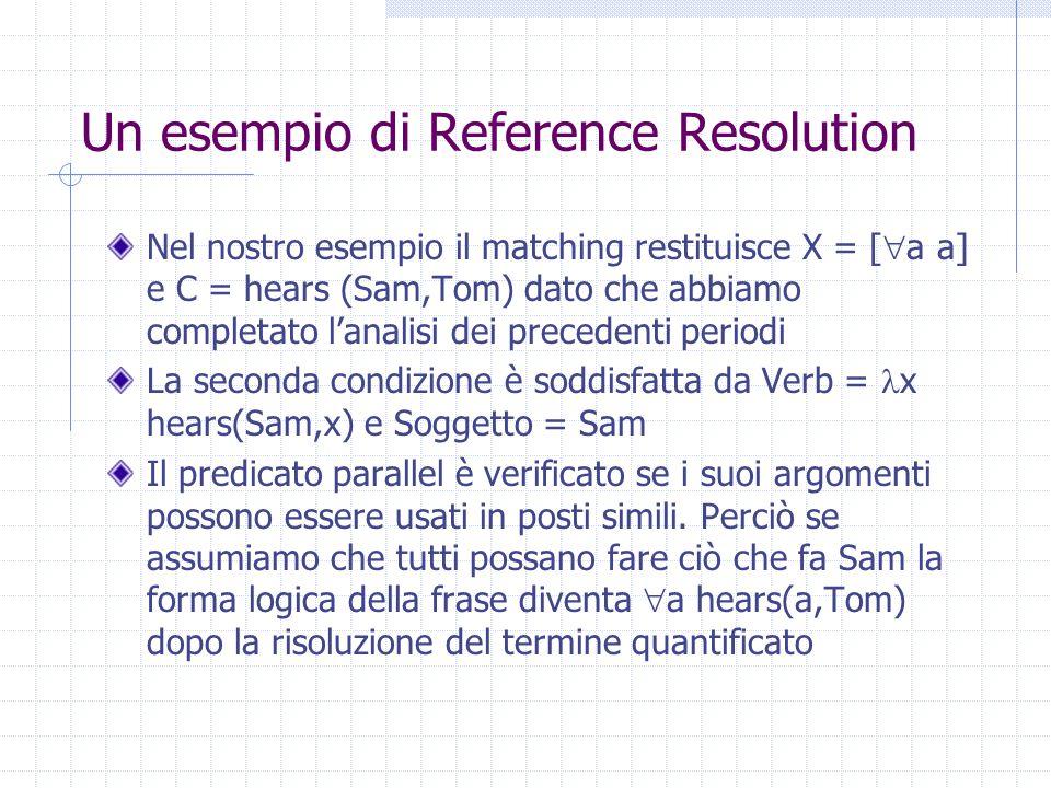 Un esempio di Reference Resolution Nel nostro esempio il matching restituisce X = [  a a] e C = hears (Sam,Tom) dato che abbiamo completato l'analisi dei precedenti periodi La seconda condizione è soddisfatta da Verb = x hears(Sam,x) e Soggetto = Sam Il predicato parallel è verificato se i suoi argomenti possono essere usati in posti simili.