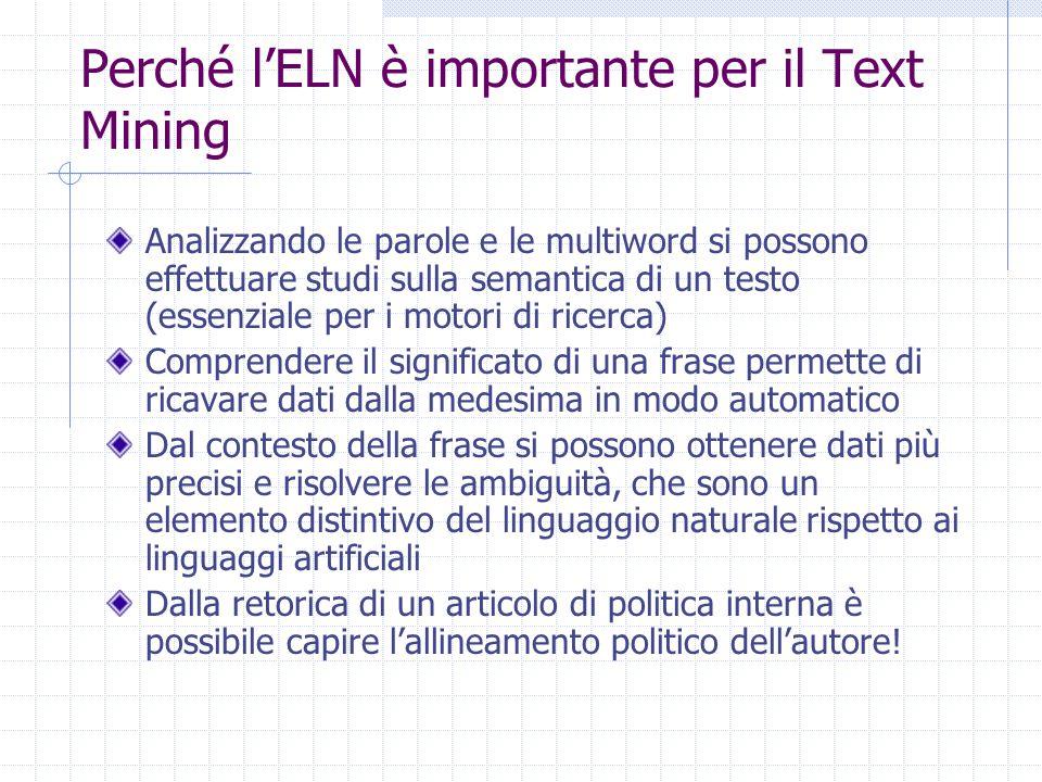 Perché l'ELN è importante per il Text Mining Analizzando le parole e le multiword si possono effettuare studi sulla semantica di un testo (essenziale