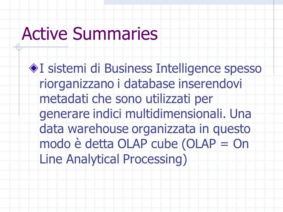 Active Summaries I sistemi di Business Intelligence spesso riorganizzano i database inserendovi metadati che sono utilizzati per generare indici multi