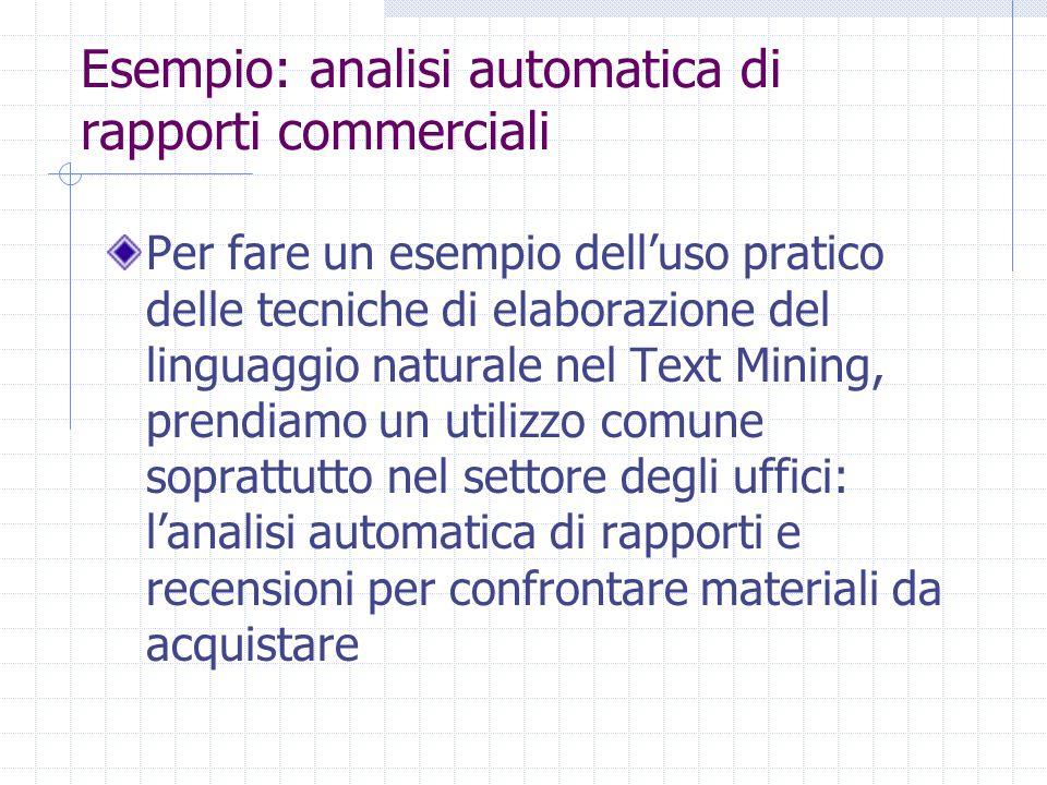 Esempio: analisi automatica di rapporti commerciali Per fare un esempio dell'uso pratico delle tecniche di elaborazione del linguaggio naturale nel Te