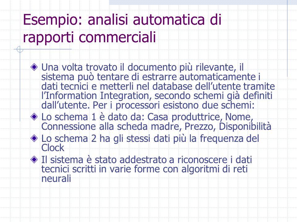 Esempio: analisi automatica di rapporti commerciali Una volta trovato il documento più rilevante, il sistema può tentare di estrarre automaticamente i