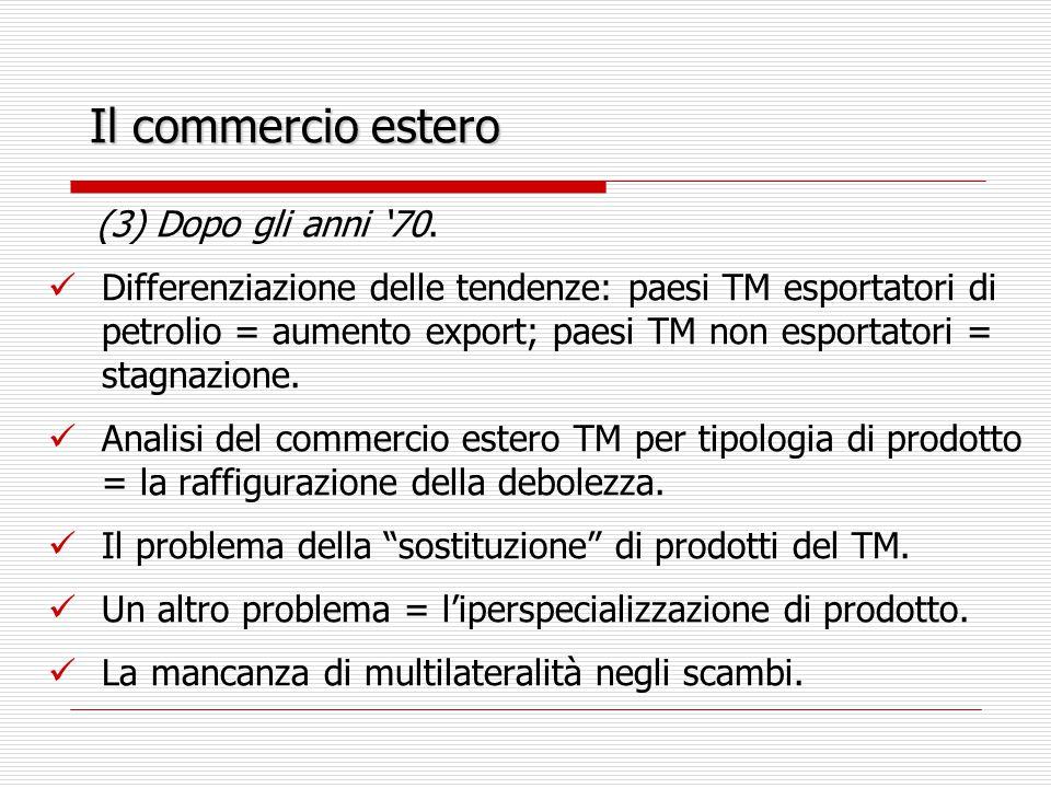 Il commercio estero Altri fattori dell'asimmetria del commercio estero: (1) instabilità prezzi esportazioni TM.