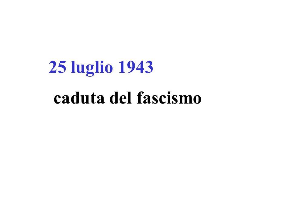 25 luglio 1943 caduta del fascismo