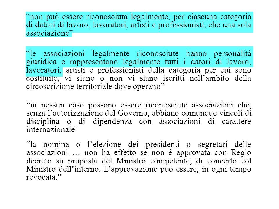 """""""non può essere riconosciuta legalmente, per ciascuna categoria di datori di lavoro, lavoratori, artisti e professionisti, che una sola associazione"""""""
