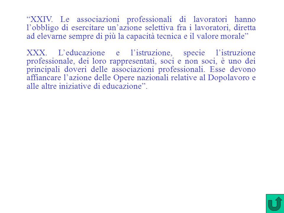 """""""XXIV. Le associazioni professionali di lavoratori hanno l'obbligo di esercitare un'azione selettiva fra i lavoratori, diretta ad elevarne sempre di p"""