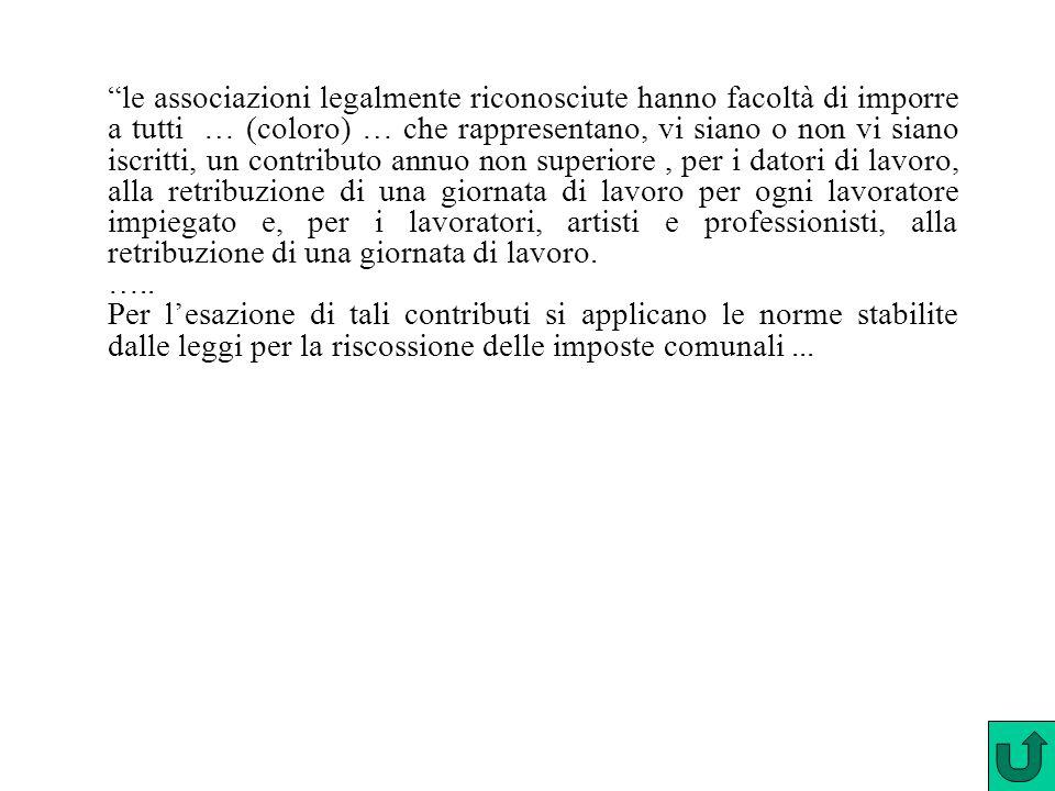 """""""le associazioni legalmente riconosciute hanno facoltà di imporre a tutti … (coloro) … che rappresentano, vi siano o non vi siano iscritti, un contrib"""