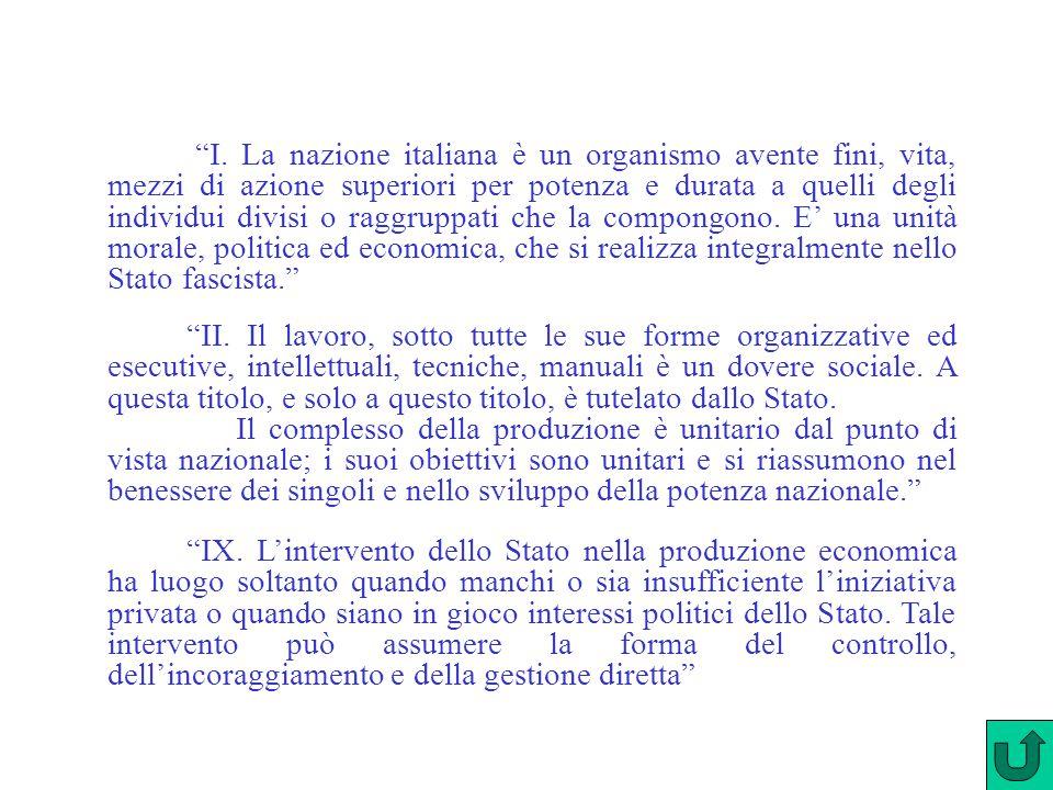 """""""I. La nazione italiana è un organismo avente fini, vita, mezzi di azione superiori per potenza e durata a quelli degli individui divisi o raggruppati"""