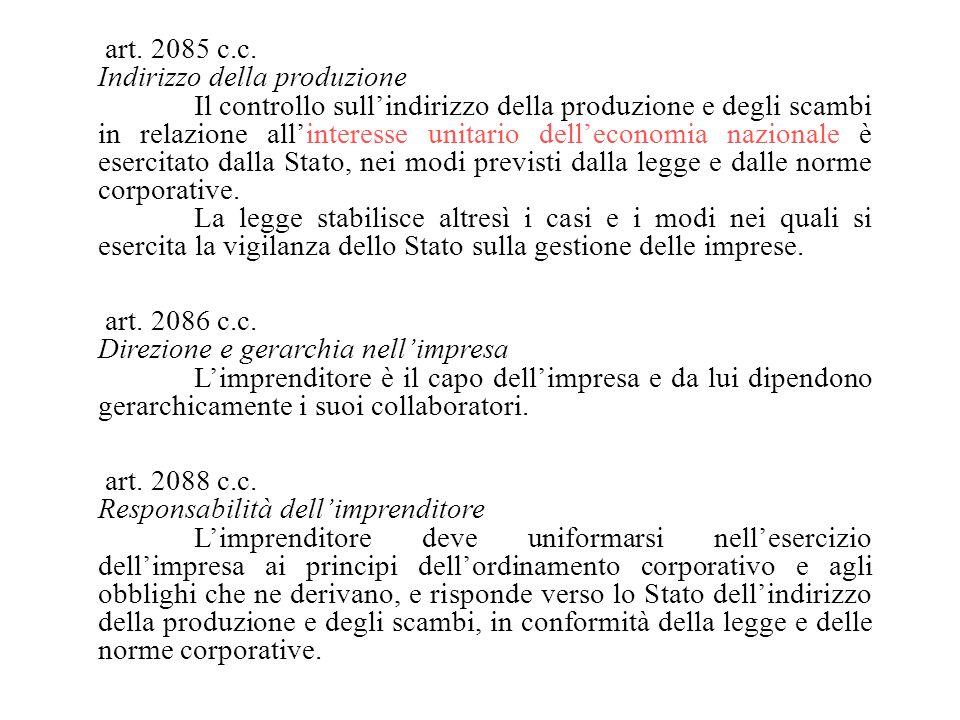 art. 2085 c.c. Indirizzo della produzione Il controllo sull'indirizzo della produzione e degli scambi in relazione all'interesse unitario dell'economi