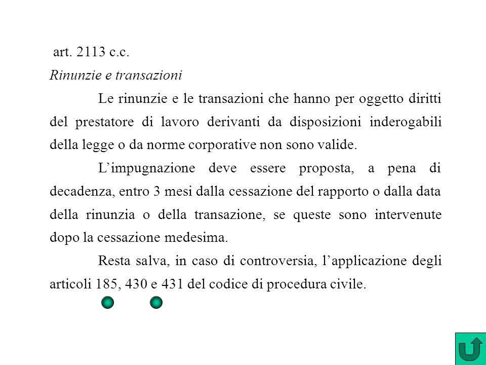 art. 2113 c.c. Rinunzie e transazioni Le rinunzie e le transazioni che hanno per oggetto diritti del prestatore di lavoro derivanti da disposizioni in