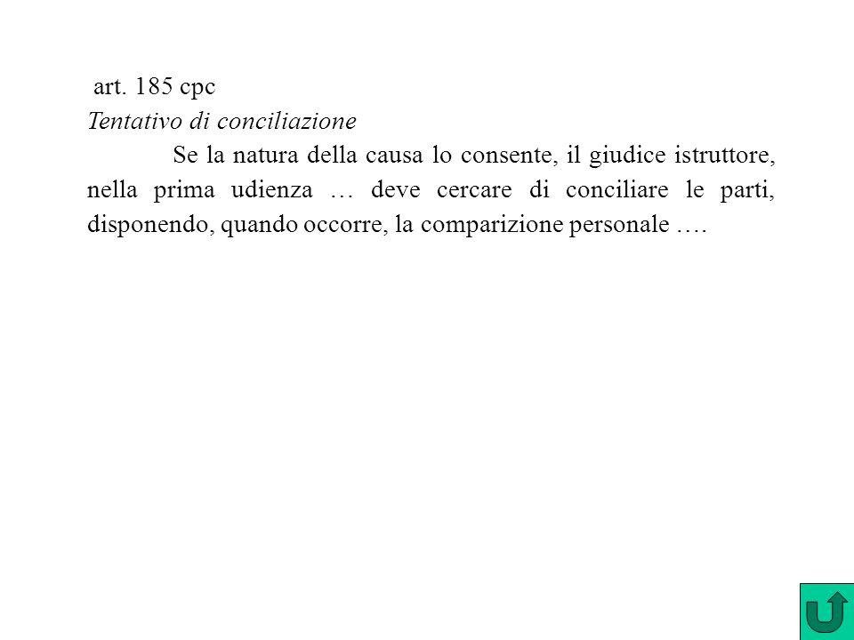 art. 185 cpc Tentativo di conciliazione Se la natura della causa lo consente, il giudice istruttore, nella prima udienza … deve cercare di conciliare