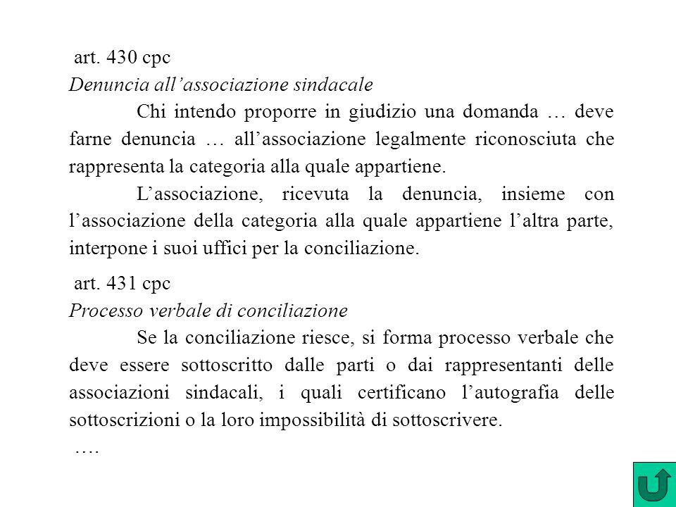 art. 430 cpc Denuncia all'associazione sindacale Chi intendo proporre in giudizio una domanda … deve farne denuncia … all'associazione legalmente rico