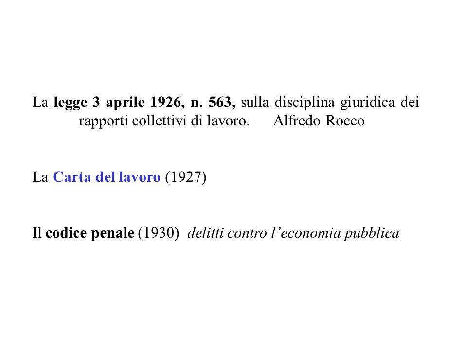 La legge 3 aprile 1926, n. 563, sulla disciplina giuridica dei rapporti collettivi di lavoro. Alfredo Rocco La Carta del lavoro (1927) Il codice penal