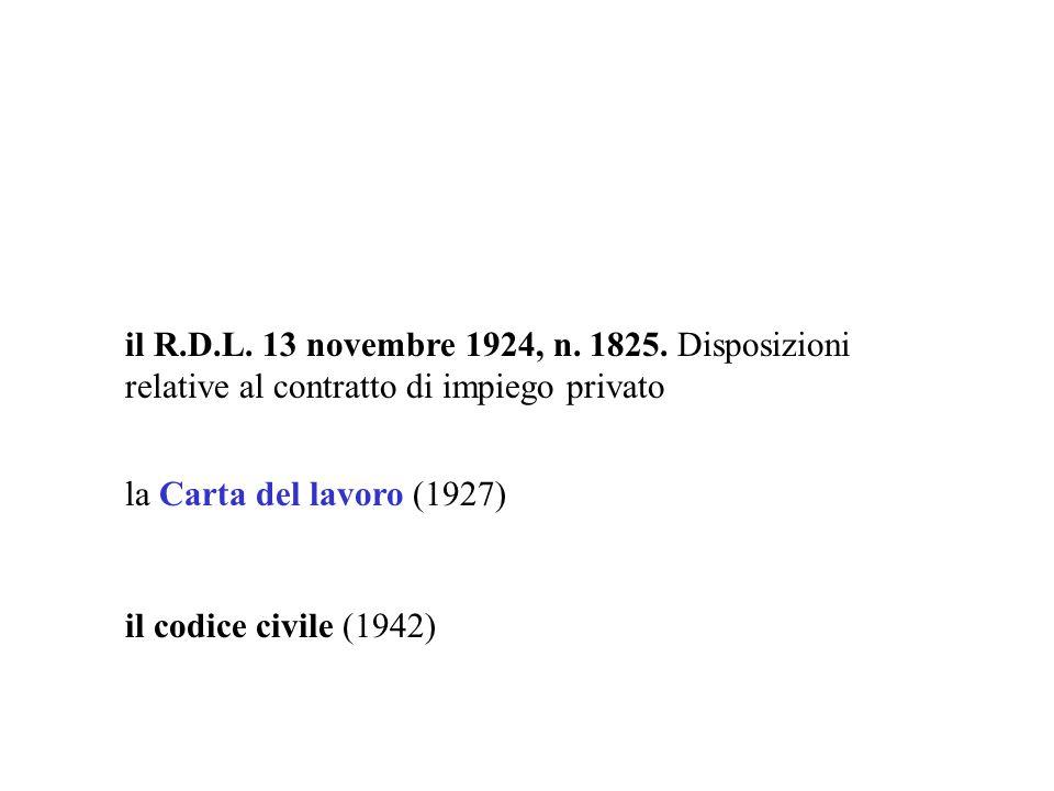 il R.D.L. 13 novembre 1924, n. 1825. Disposizioni relative al contratto di impiego privato il codice civile (1942) la Carta del lavoro (1927)