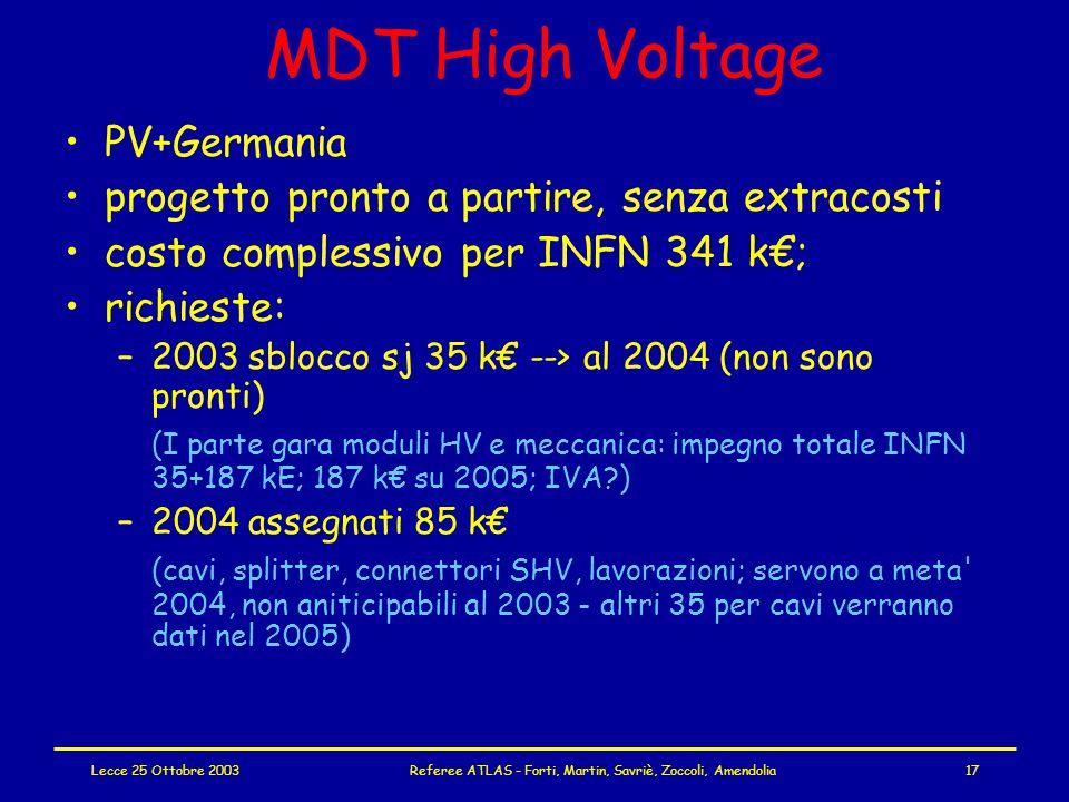 Lecce 25 Ottobre 2003Referee ATLAS - Forti, Martin, Savriè, Zoccoli, Amendolia17 MDT High Voltage PV+Germania progetto pronto a partire, senza extracosti costo complessivo per INFN 341 k€; richieste: –2003 sblocco sj 35 k€ --> al 2004 (non sono pronti) (I parte gara moduli HV e meccanica: impegno totale INFN 35+187 kE; 187 k€ su 2005; IVA ) –2004 assegnati 85 k€ (cavi, splitter, connettori SHV, lavorazioni; servono a meta 2004, non aniticipabili al 2003 - altri 35 per cavi verranno dati nel 2005)