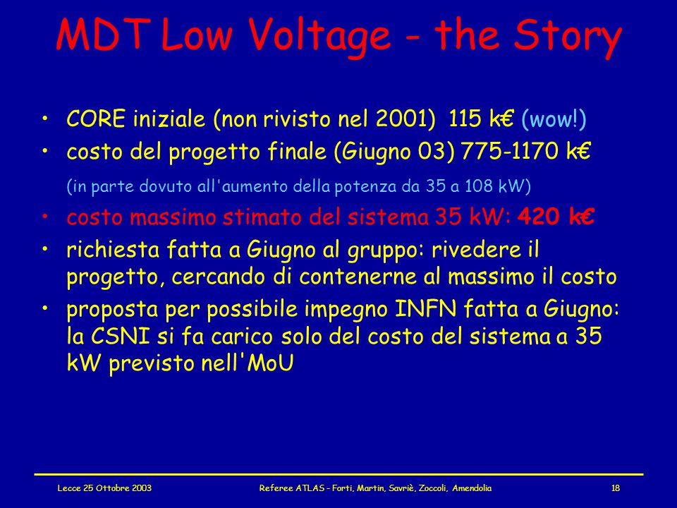 Lecce 25 Ottobre 2003Referee ATLAS - Forti, Martin, Savriè, Zoccoli, Amendolia18 MDT Low Voltage - the Story CORE iniziale (non rivisto nel 2001) 115 k€ (wow!) costo del progetto finale (Giugno 03) 775-1170 k€ (in parte dovuto all aumento della potenza da 35 a 108 kW) costo massimo stimato del sistema 35 kW: 420 k€ richiesta fatta a Giugno al gruppo: rivedere il progetto, cercando di contenerne al massimo il costo proposta per possibile impegno INFN fatta a Giugno: la CSNI si fa carico solo del costo del sistema a 35 kW previsto nell MoU