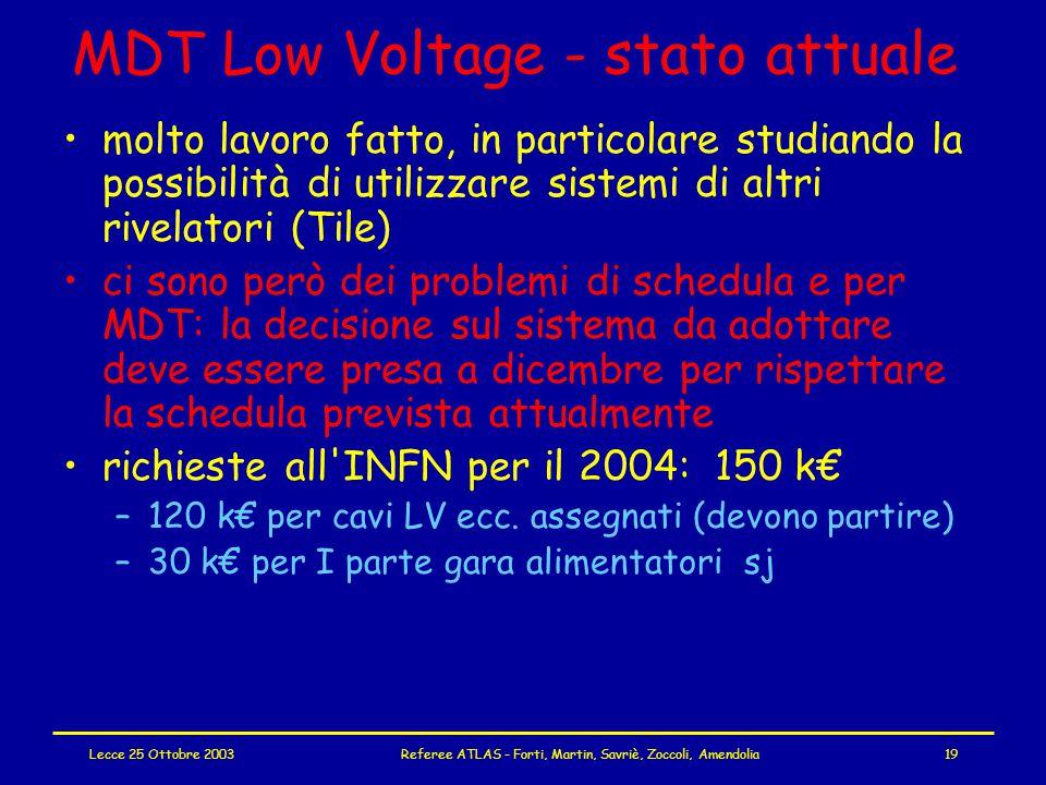 Lecce 25 Ottobre 2003Referee ATLAS - Forti, Martin, Savriè, Zoccoli, Amendolia19 MDT Low Voltage - stato attuale molto lavoro fatto, in particolare studiando la possibilità di utilizzare sistemi di altri rivelatori (Tile) ci sono però dei problemi di schedula e per MDT: la decisione sul sistema da adottare deve essere presa a dicembre per rispettare la schedula prevista attualmente richieste all INFN per il 2004: 150 k€ –120 k€ per cavi LV ecc.