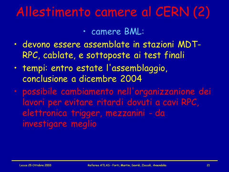 Lecce 25 Ottobre 2003Referee ATLAS - Forti, Martin, Savriè, Zoccoli, Amendolia21 Allestimento camere al CERN (2) camere BML: devono essere assemblate in stazioni MDT- RPC, cablate, e sottoposte ai test finali tempi: entro estate l assemblaggio, conclusione a dicembre 2004 possibile cambiamento nell organizzanione dei lavori per evitare ritardi dovuti a cavi RPC, elettronica trigger, mezzanini - da investigare meglio