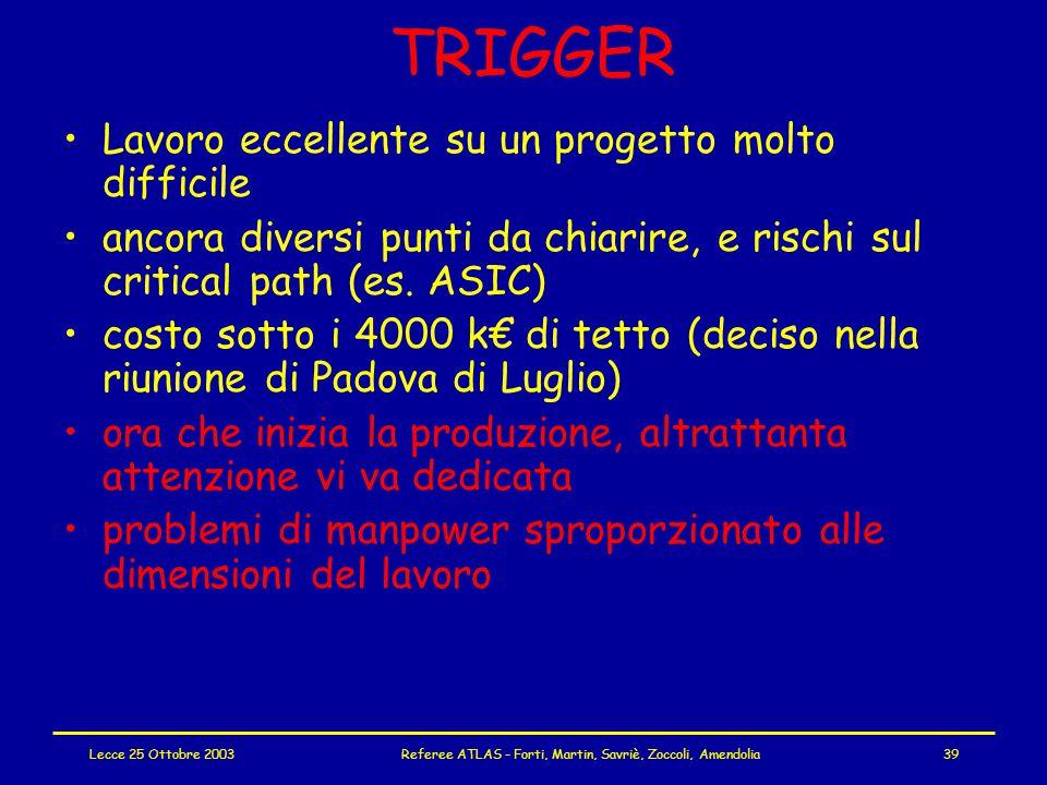 Lecce 25 Ottobre 2003Referee ATLAS - Forti, Martin, Savriè, Zoccoli, Amendolia39 TRIGGER Lavoro eccellente su un progetto molto difficile ancora diversi punti da chiarire, e rischi sul critical path (es.