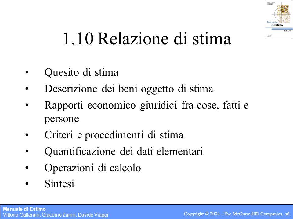 Manuale di Estimo Vittorio Gallerani, Giacomo Zanni, Davide Viaggi Copyright © 2004 - The McGraw-Hill Companies, srl 1.10 Relazione di stima Quesito d