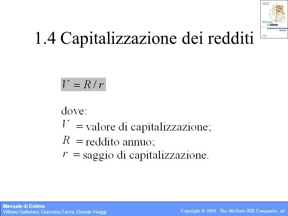 Manuale di Estimo Vittorio Gallerani, Giacomo Zanni, Davide Viaggi Copyright © 2004 - The McGraw-Hill Companies, srl 1.4 Capitalizzazione dei redditi