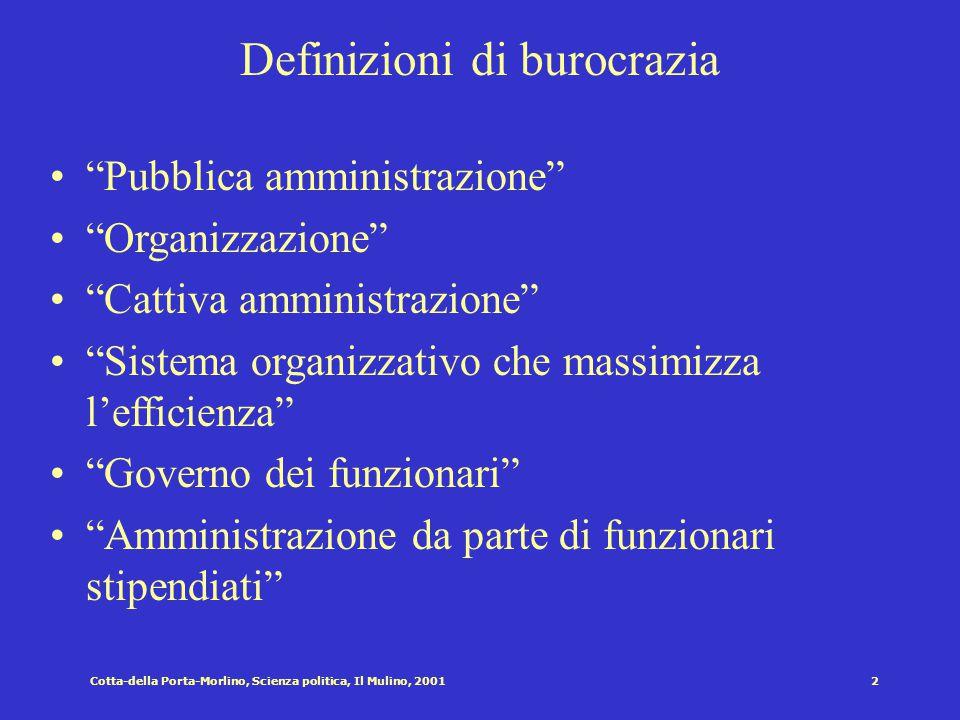 Cotta-della Porta-Morlino, Scienza politica, Il Mulino, 20011 Cap. XV: Le burocrazie pubbliche Struttura del capitolo Definizioni di burocrazia La cre
