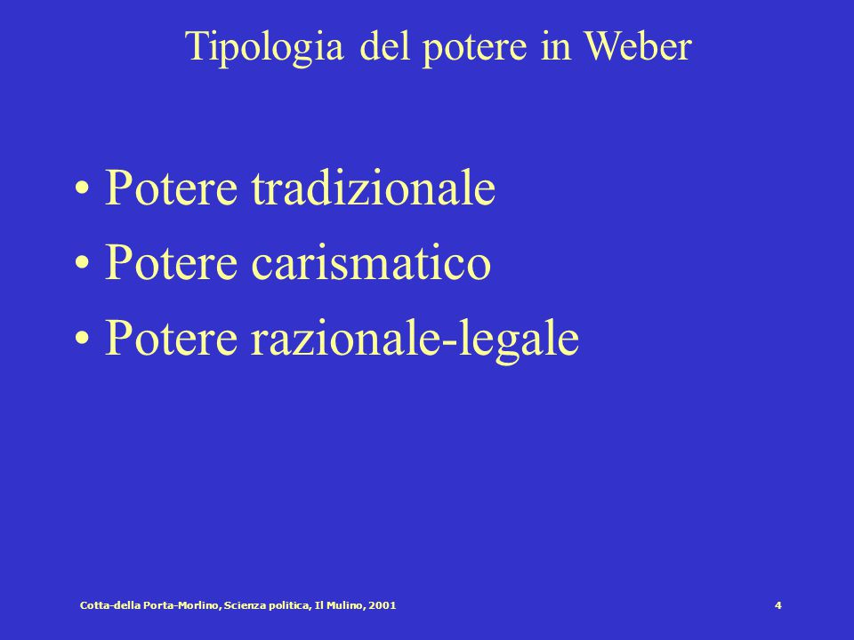 Cotta-della Porta-Morlino, Scienza politica, Il Mulino, 20013 Specificità dello stato moderno burocratico (Weber) L'accentramento del potere Il monopo