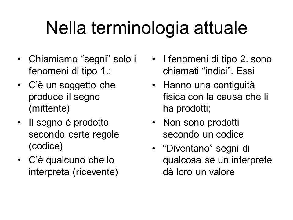 """Nella terminologia attuale Chiamiamo """"segni"""" solo i fenomeni di tipo 1.: C'è un soggetto che produce il segno (mittente) Il segno è prodotto secondo c"""